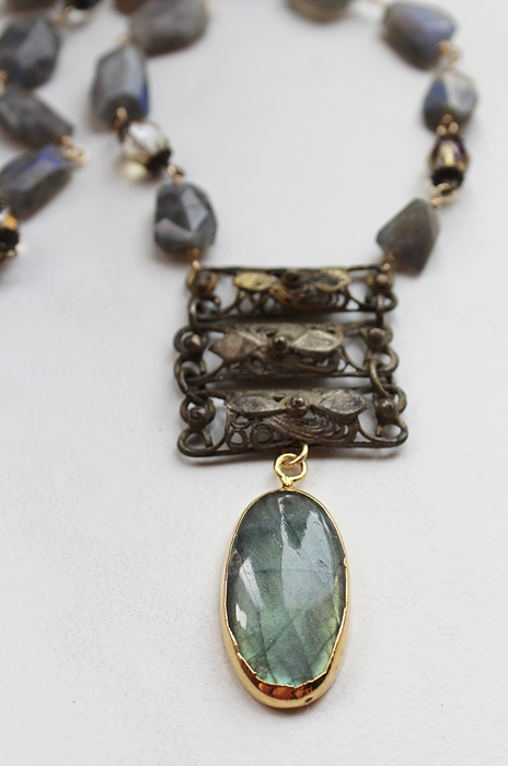 Labradorite and Glass Necklace - The Kate Necklace