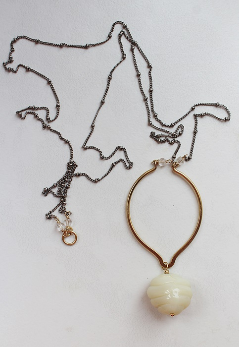Mixed Metal and Vintage Glass Necklace - The Lina Necklace