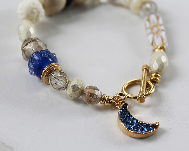 Mixed Glass and Druzy Bracelet - The Moonshadow Bracelet