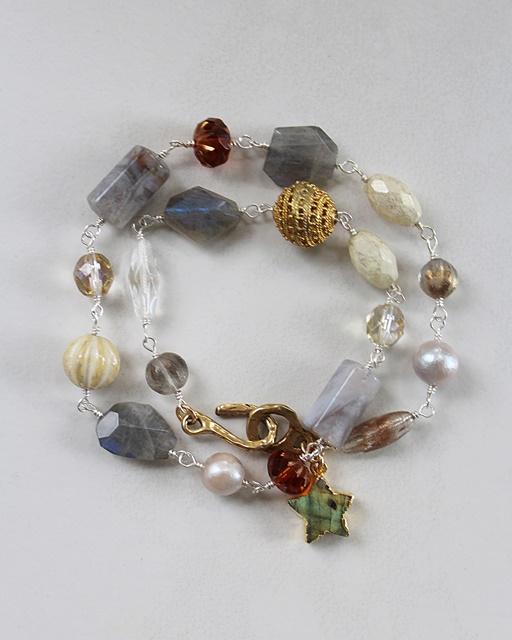 Labradorite, Vintage Glass, and Mixed Metal Bracelet - The Autumn Star Bracelet