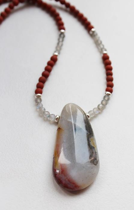 Red Jasper, Labradorite, Ocean Jasper Pendant Necklace - The Tucson Necklace