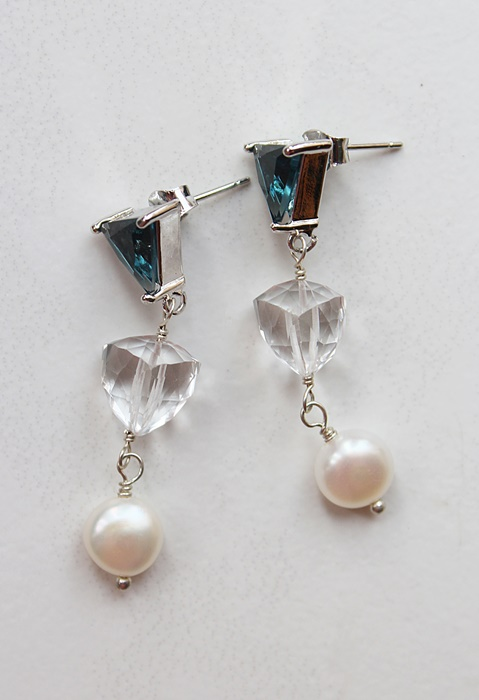 Blue Topaz, Clear Quartz and Fresh Water Pearl Earrings - The Brandy Earrings