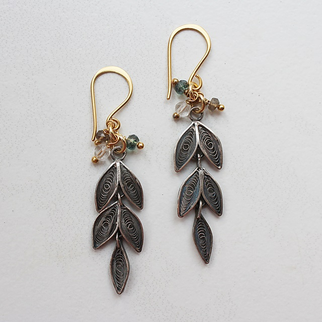 NEW Stones - Vintage Sterling Silver Cannetile Leaf Drops with Czech Glass - The Erica Earrings