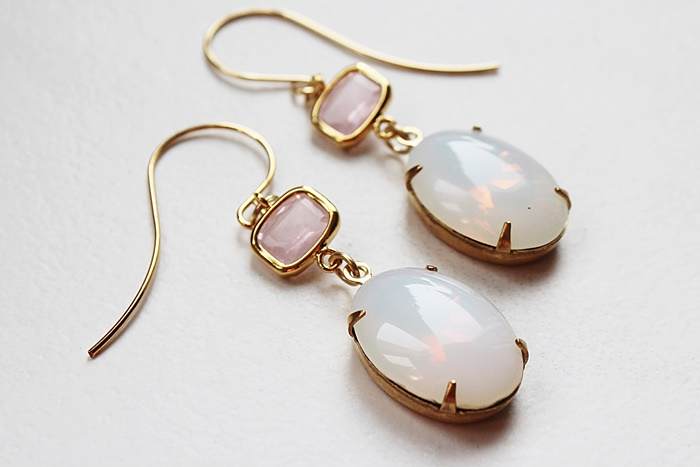 Rose Quartz and Opaline Drop Earrings - The Cammy Earrings