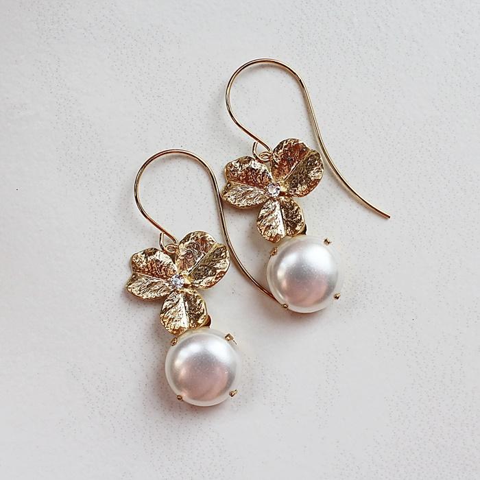 Vintage Pearl Drops on CZ Hydrangea Earrings - The Chelsea Earrings