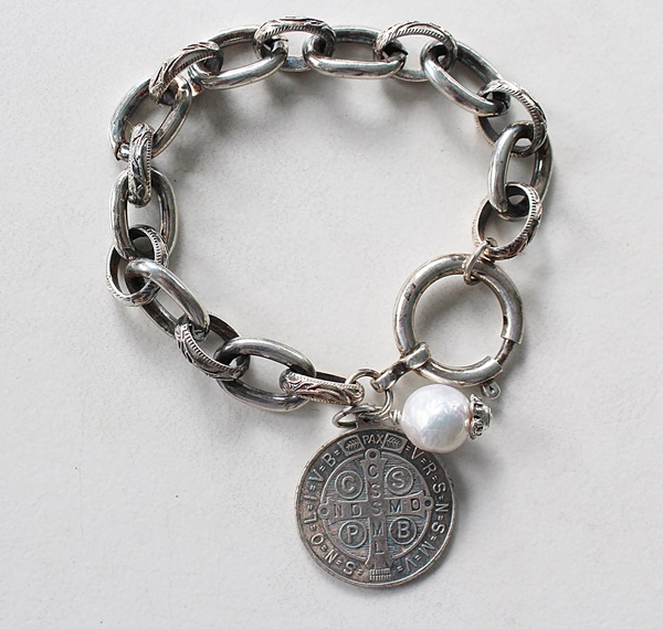 Sterling Clad Boyfriend Bracelet with Benedictine Charm - The Benedicta Bracelet