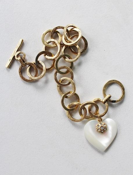 Antique Gold Link Bracelet with Mother of Pearl Heart Charm - The Natalie Bracelet