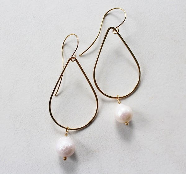 Fresh Water Pearl Hoop Earrings - The Daphne Earrings
