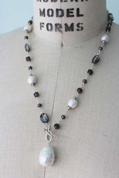 Fresh Water Pearl & Mixed Glass Necklace - The Emma Necklace