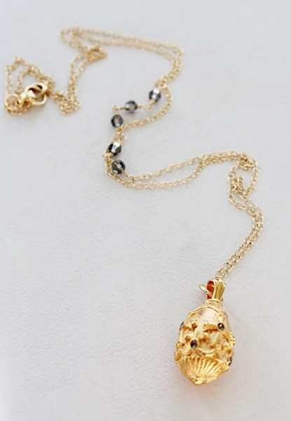Faberge Pendant on 14kt Gold Chain - The Caroline Necklace