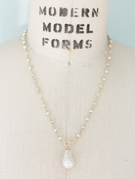 Silverite and Baroque Pearl Necklace - The Michele Necklace