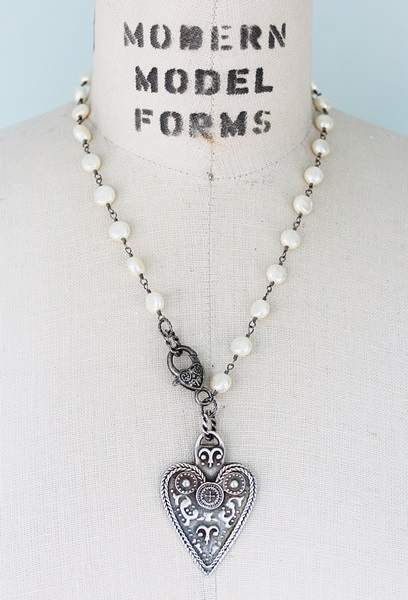 Vintage Miriam Haskell Coin Pearl and Engraved Heart Necklace - The Lillian Necklace