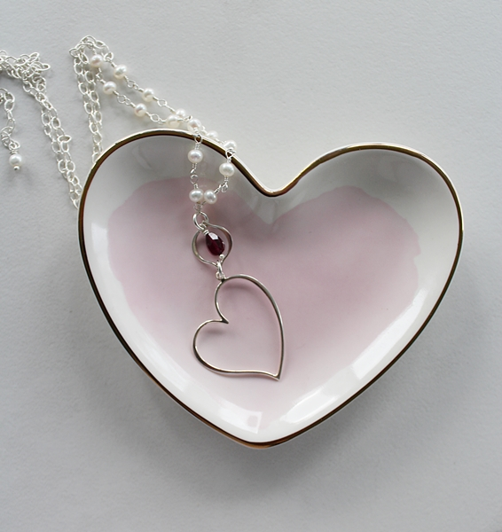Sterling Silver Fresh Water Pearl and Garnet Floating Heart Necklace - The Sweetheart Necklace