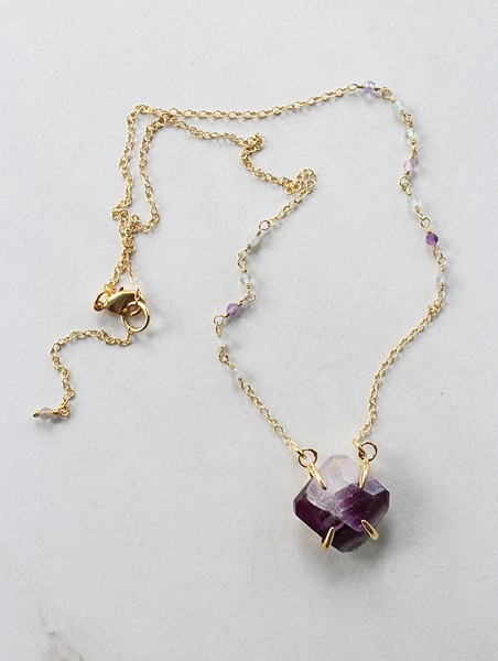 Fluorite Bezel Necklace - The Grace Necklace