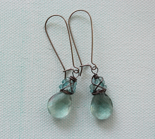 Fluorite and Apatite Wrapped Sterling Silver Earrings - The Linnea Earrings