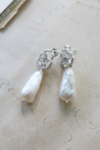 Elegant CZ and Fresh Water Pearl Post Earrings