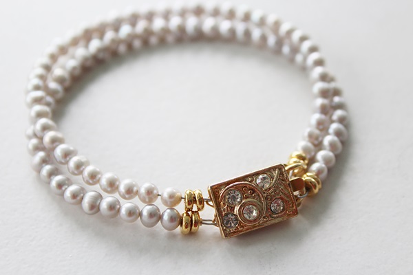 Dove Gray Fresh Water Pearl Double Strand Bracelet - The Pamela Bracelet