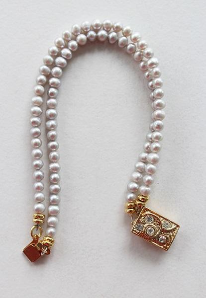 Dove Gray Fresh Water Pearl Double Strand Bracelet - The Pamela Bracelet