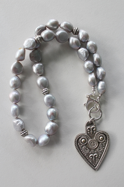 Dove Gray Fresh Water Pearl and Sterling Silver Heart Necklace - The Annaliese Necklace