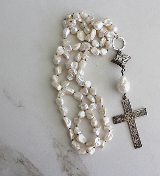 Fresh Water Pearl and Silver Cross Necklace - The Easter Necklace