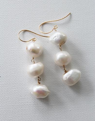 Fresh Water Pearl Trio Earrings