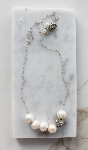 Fresh Water Pearl and Rhinestone Necklace - The Danica Necklace