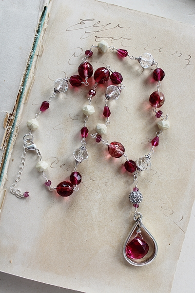 Fuschia Quartz and Mixed Glass Necklace - The Francesca Necklace
