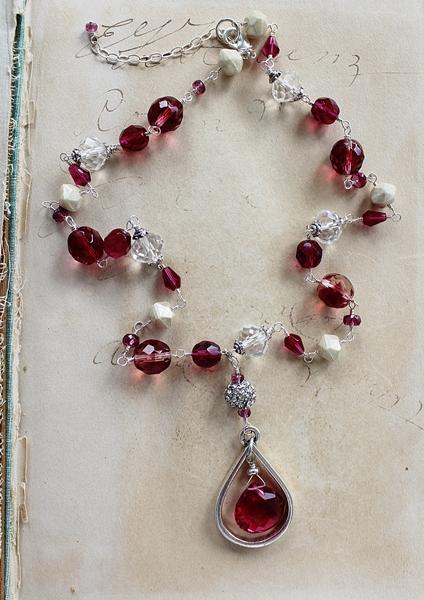 Fuschia Quartz and Mixed Glass Necklace - The Francesca Necklace