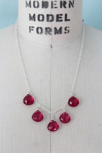 Fuschia Quartz Sterling Silver Necklace - The Emma Necklace
