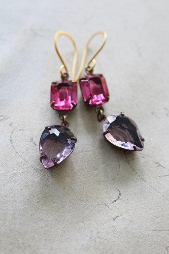 Fuschia and Pink Vintage Drop Earrings