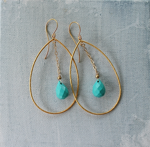 Gold Hoop with Turquoise Dangle Earrings - The Frankie Earrings