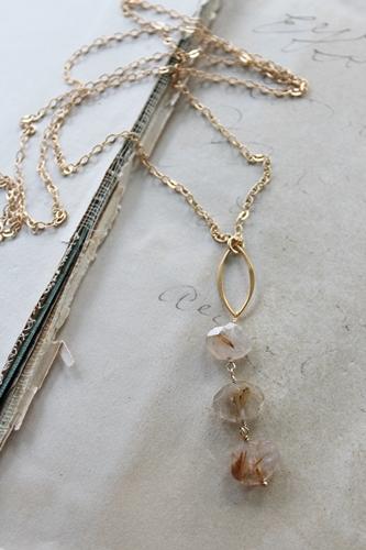 Golden Rutiliated Quartz Trio Necklace