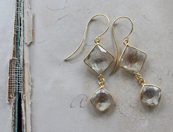 Golden Rutiliated Quartz Drop Earrings - The Remi Earrings