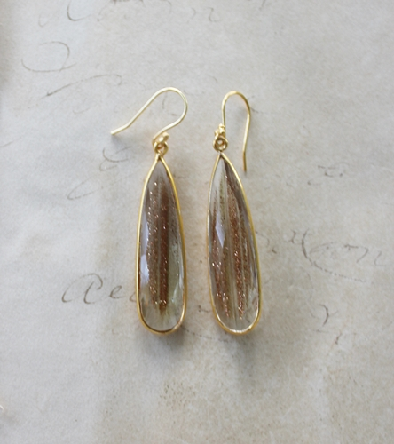 Golden Rutiliated Drop Earrings