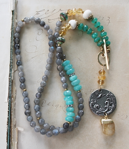 Aquamarine, Labradorite, Citrine and Vintage Glass Necklace - The Grateful Heart Necklace