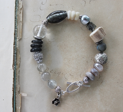 Vintage Glass, Australian Moonstone, Horn, Mixed Gem Bracelet - The Repose Bracelet