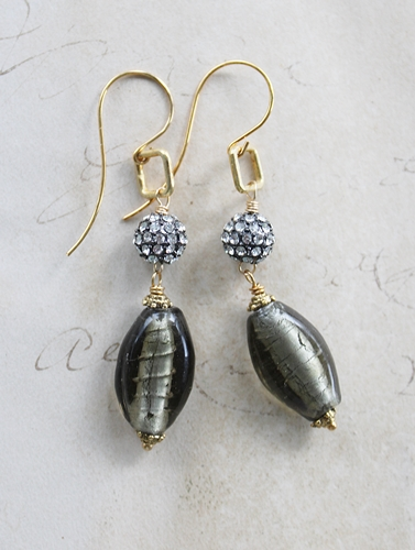 Vintage Gray Lampwork Glass and Rhinestone Earrings - The Laci Earrings
