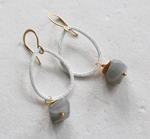 Gray Moonstone Mixed Metal Earrings - The Nicole Earrings