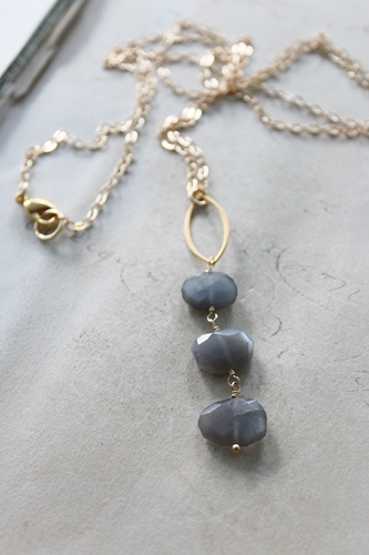 Gray Moonstone Trio Necklace