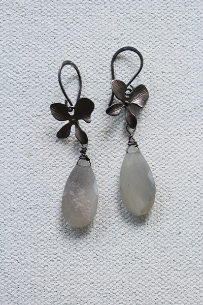 Gray Moonstone Orchid Earrings