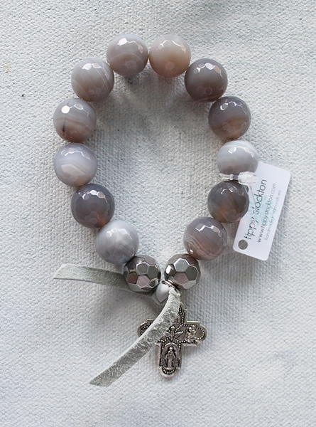 Gray Moonstone with Trinity Cross or Gold Cross Stretch Bracelet