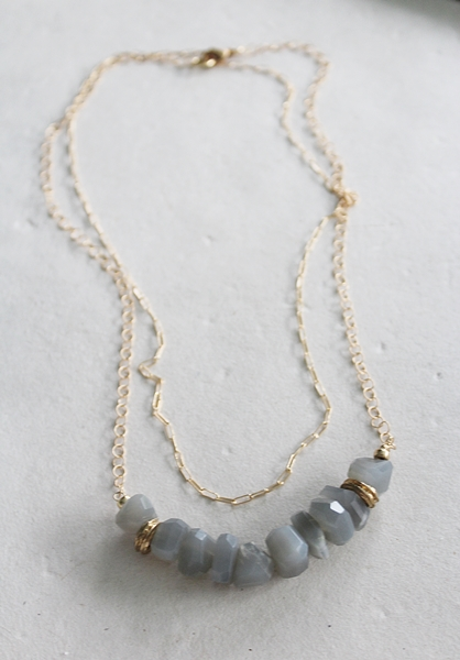 Gray Moonstone Double Strand Necklace - The Nicole Necklace