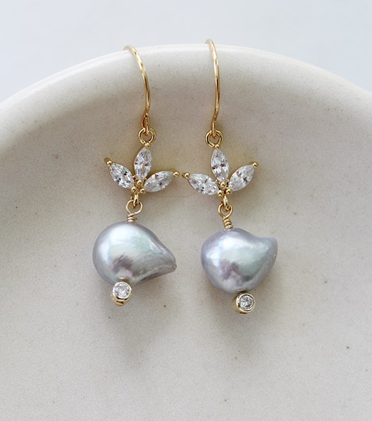 Dove Gray Fresh Water Pearl and CZ  Earrings - The Catherine Earrings