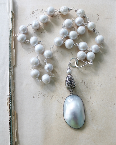 Dove Gray Fresh Water Pearl and MOP Pendant Necklace