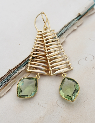 Green Amethyst Ladder Earrings - The Amalyia Earrings