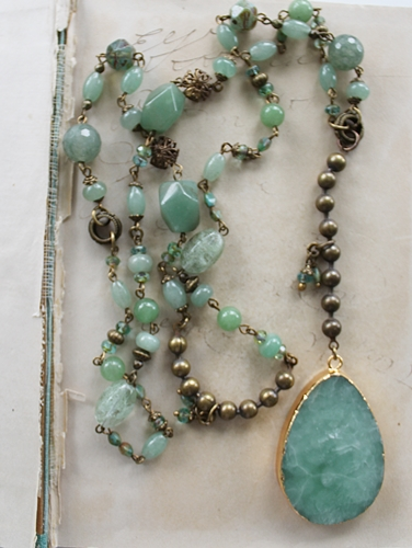 Green Jade, Vintage Glass and Chain Druzy Necklace - The Delaney Necklace
