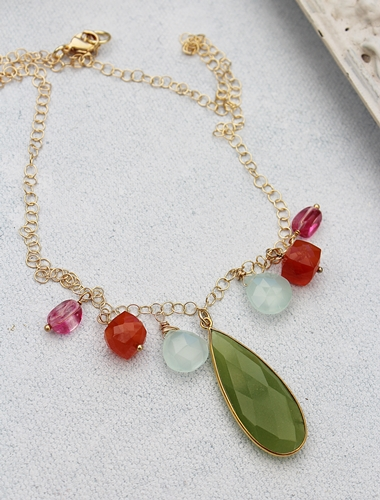 Vessonite and Mixed Gem Necklace - The Hayley Necklace