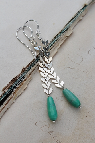 Green Opal and Chevron Silver Chain Earrings - The Ginger Earrings