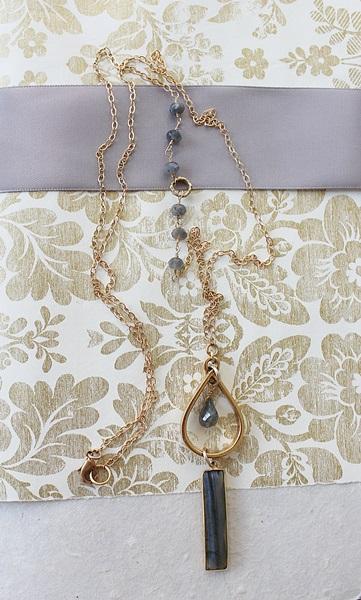 Labradorite Bar Necklace - The Jordan Necklace