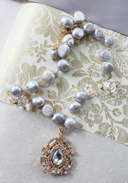 Dove Gray  Fresh Water Pearl and Rhinestone Pendant Necklace - The Catherine Necklace